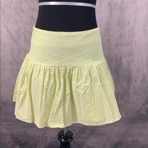 Express Lime Green Seersucker Mini Skirt